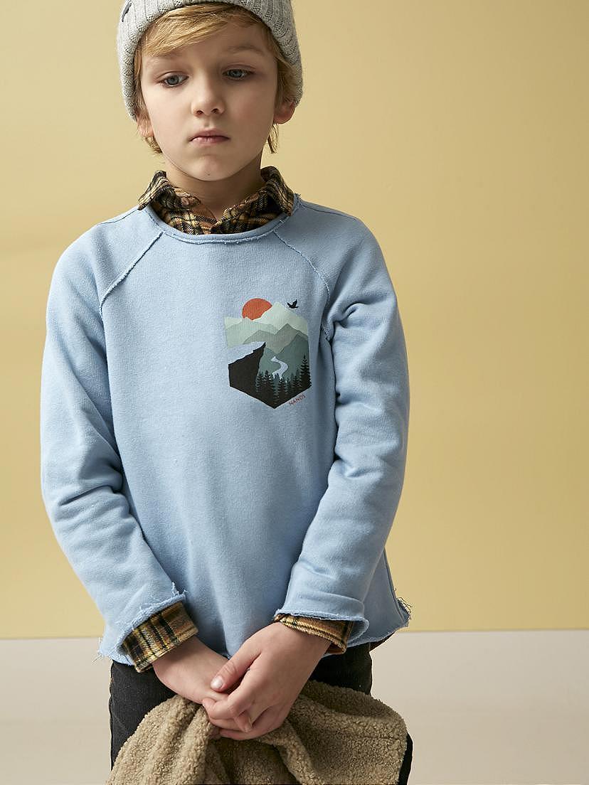 Conjunto de niño Nanos con sudadera de borreguito, camiseta y camisa escocesa