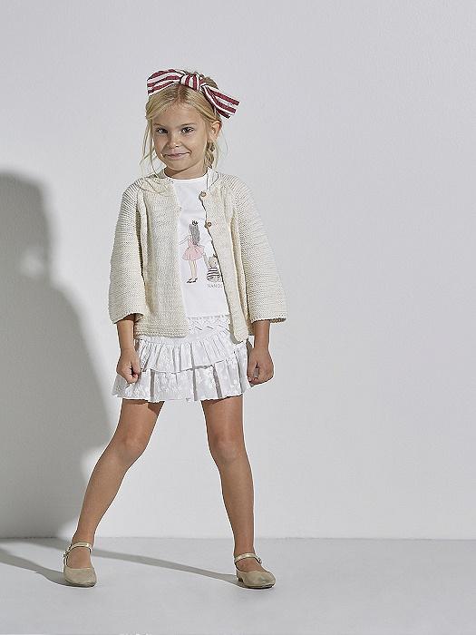 Conjunto de niña Nanos de camiseta, falda y chaqueta