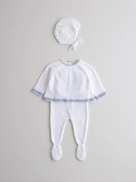 Conjunto de capota, jubón y polaina blanco en consejos para bebes Nanos