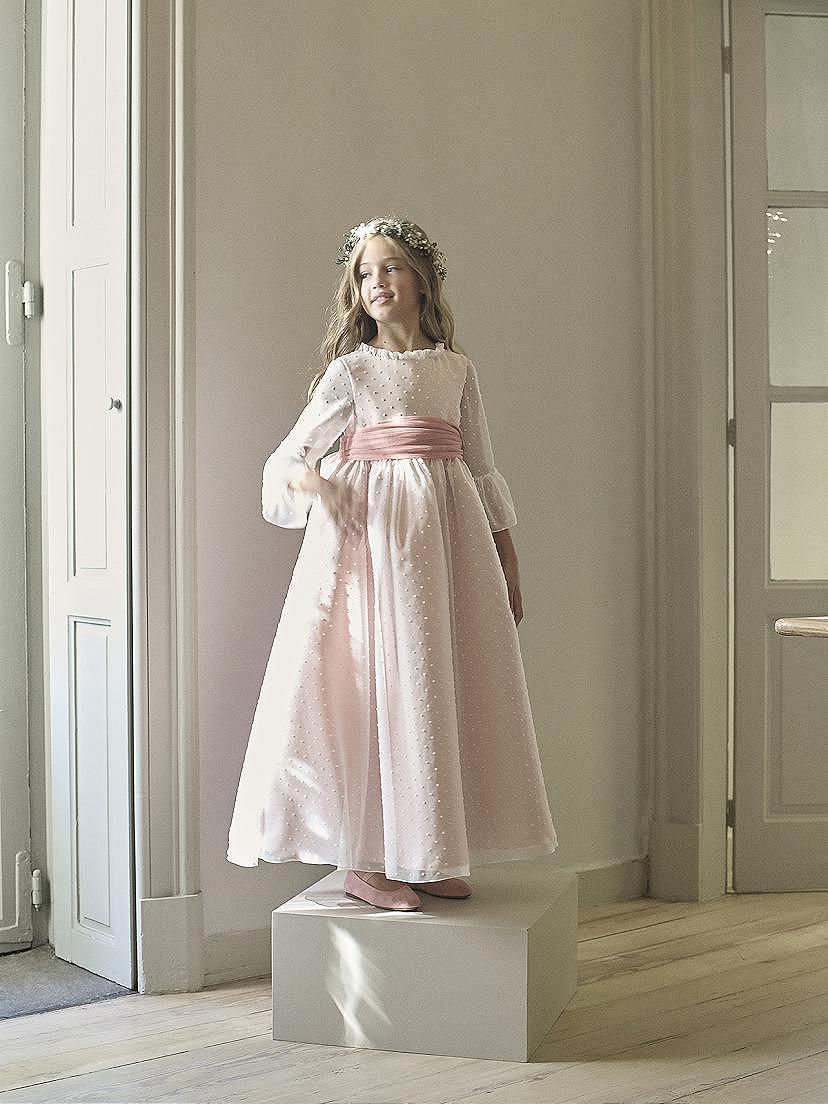 Vestido comunición niña 2021 lazo rosa en tendencias Nanos