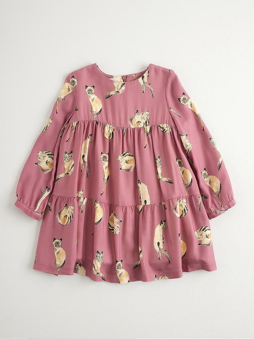 Vestido de viella rosa Nanos con dibujos de gatitos