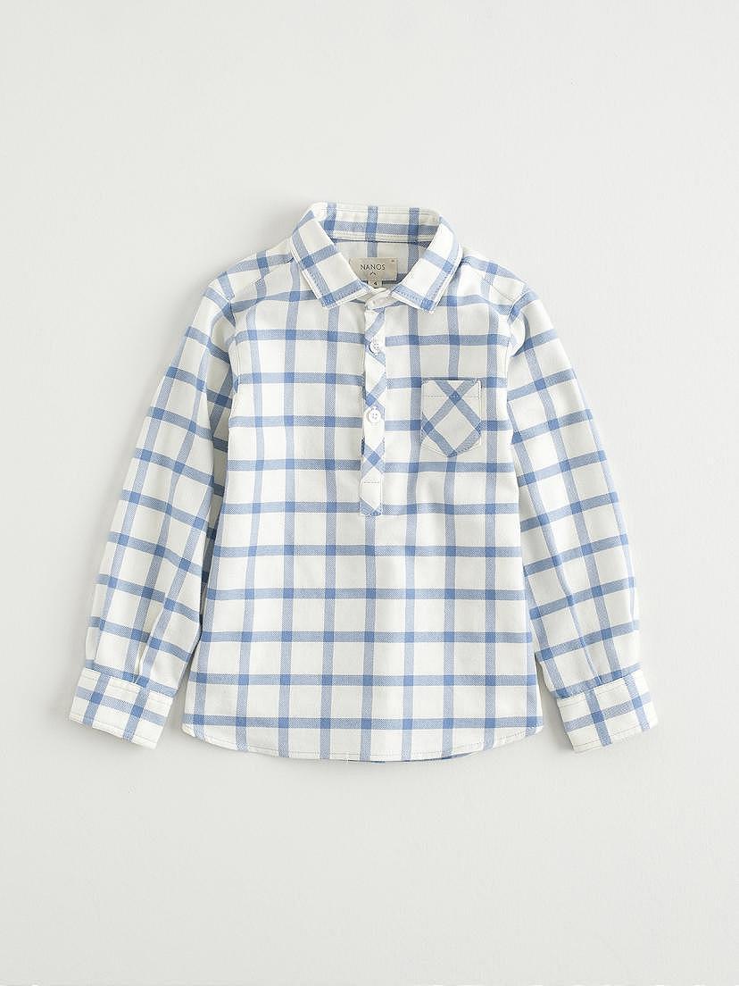 Camisa de franela de cuadros celeste para niño de Nanos
