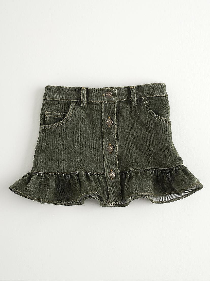 Falda jeans de loneta verde kaki Nanos