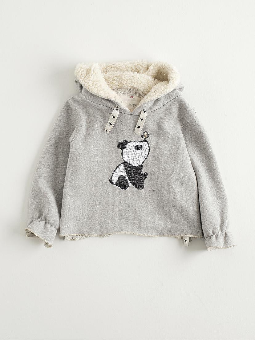 Sudadera gris claro con dibujo de panda de Nanos para niña